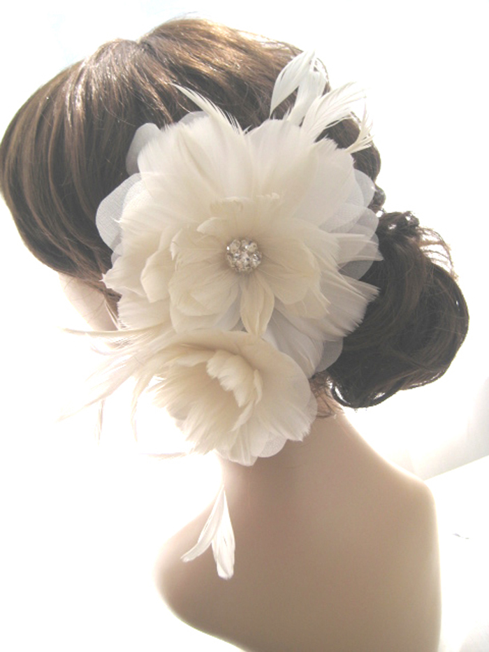 EVANGELINE Feather Flower Bridal Fascinator