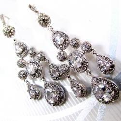 GIA Cubic Zirconia Chandelier Earrings